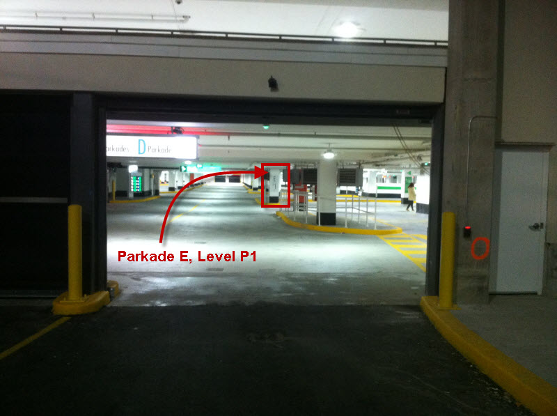 As you Drive Down the Ramp you See a 'D', but if you look ahead, you will See 'E', P1 - go here!